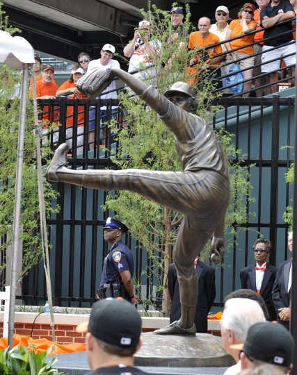 The statue of Hall of Fame pitcher Jim Palmer is unveiled as part of the Orioles Legends series at Oriole Park at Camden Yards July 14, 2012. (Joy R. Absalon/US PRESSWIRE)