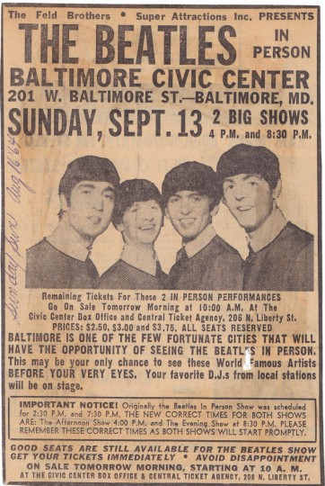 Newspaper ad for The Beatles' Sept. 13, 1964 Baltimore concert.