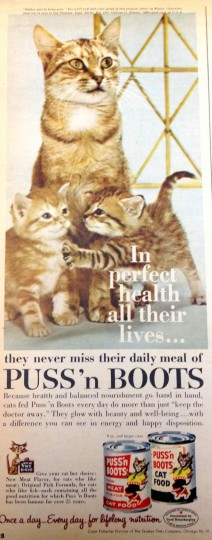 Puss 'n Boots Cat Food. Sunday Sun Magazine. October 23, 1960. (Courtesy: The Baltimore Sun)