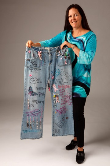 """Kelly Lange, vice president of METAvivor Research and Support for metastatic breast cancer based in Annapolis, MD, recently received the """"Stage 4 Traveling Pants"""" to be displayed for a fundraising event. (Tony J Photography/for The Baltimore Sun)"""