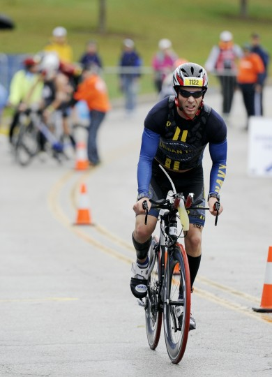 Matthew Priess, of North Bethesda, barrels down the path at the start of the second leg. (Jon Sham/BSMG)