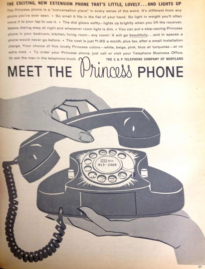 Princess phone. Sunday Sun Magazine. October 23, 1960. (Courtesy: The Baltimore Sun)