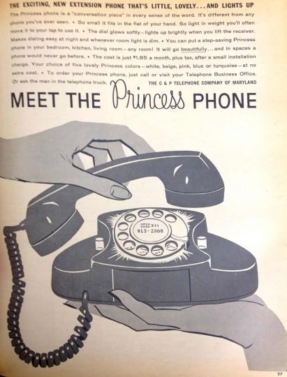 Princess phone. Sunday Sun Magazine. October 23, 1960. (Courtesy: The Baltimore Sun)