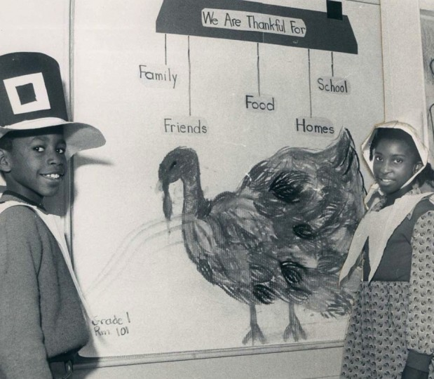 1974: James Rhue, 9, and Antonette Booker, 9, don Pilgrim attire at School 126. (William Hotz/Baltimore Sun)