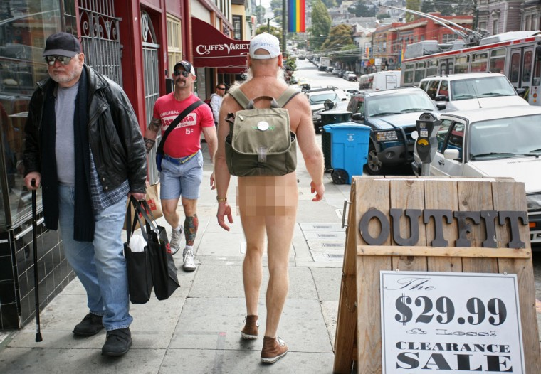 Naturist Woody Miller strolls around Castro Street in the Castro district of San Francisco, where he resides, on September 16, 2011. Miller is one of 'Naked Guys' who routinely let it all hang out in public. (Kimihiro Hoshino/AFP/Getty Images)