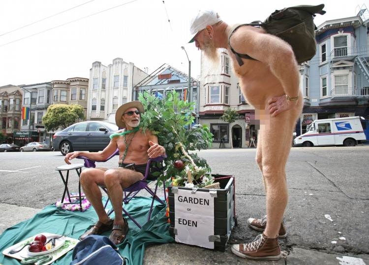 Naturist George Davis (L) chats with his friend Woody Miller (R) in the Castro district of San Francisco, where they reside,, on September 16, 2011. Davis and Miller are two of what those in the neighbor consider the 'Naked Guys' who routinely let it all hang out in public. (Kimihiro Hoshino/AFP/Getty Images)