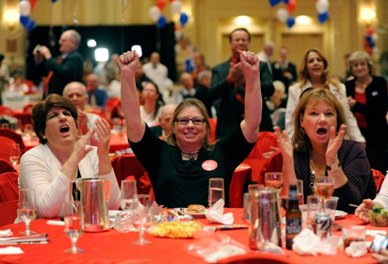 Julianne Larson, Belinda McCook and Terry Stempien react as a state is called for Republican nominee and former Massachusetts Gov. Mitt Romney during an election night watch party at The Venetian on November 6, 2012 in Las Vegas, Nevada. Voters went to polls in the heavily contested presidential race between incumbent U.S. President Barack Obama and Romney. (David Becker/Getty Images) ORG XMIT: