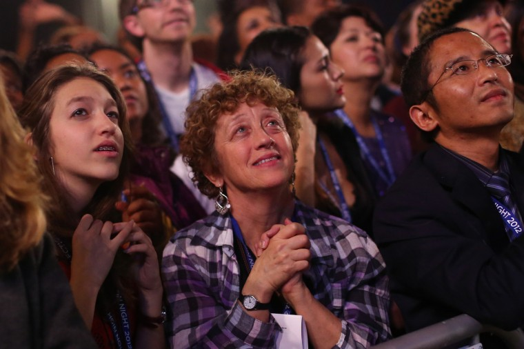 Supporters of U.S. President Barack Obama attend the Obama Election Night watch party at McCormick Place November 6, 2012 in Chicago, Illinois. Obama is going for reelection against Republican candidate, former Massachusetts Governor Mitt Romney. (Spencer Platt/Getty Images)