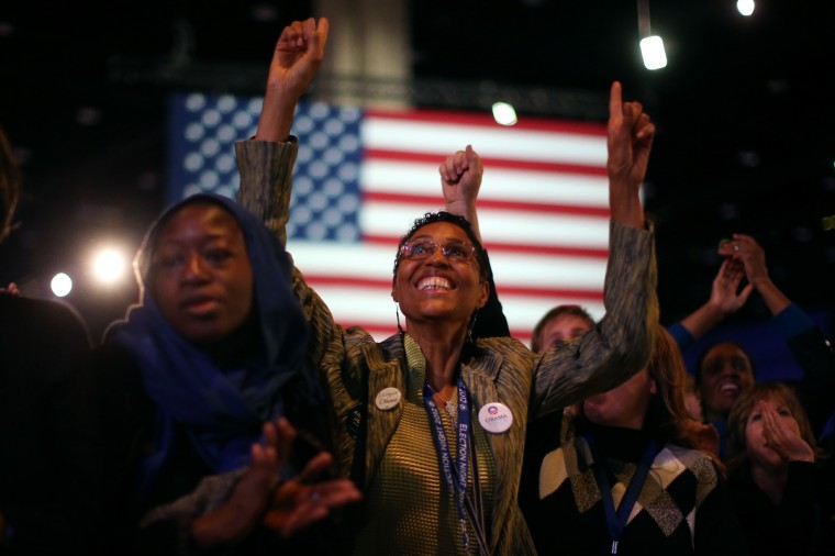 Supporters of U.S. President Barack Obama cheer during the Obama Election Night watch party at McCormick Place November 6, 2012 in Chicago, Illinois. Obama is going for reelection against Republican candidate, former Massachusetts Governor Mitt Romney. (Chip Somodevilla/Getty Images)