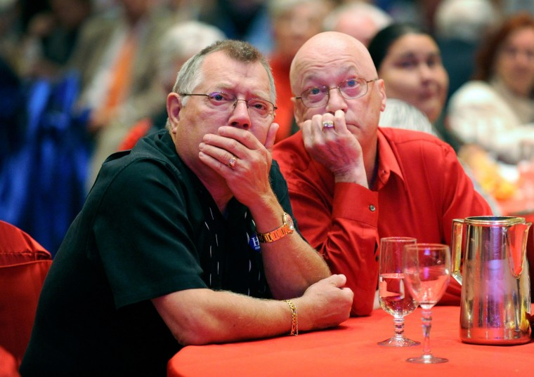 Romney supporters Rodney Paseka (L) and Gary Fox watch the returns during an election night watch party at The Venetian on November 6, 2012 in Las Vegas, Nevada. Voters went to polls in the heavily contested presidential race between incumbent U.S. President Barack Obama and Republican challenger Mitt Romney. (David Becker/Getty Images)