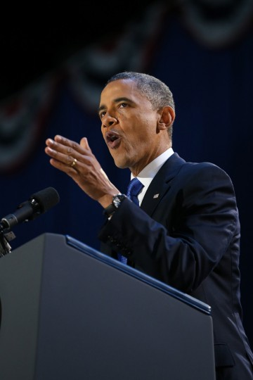 U.S. President Barack Obama delivers his victory speech after being reelected for a second term at McCormick Place November 6, 2012 in Chicago, Illinois. Obama won reelection against Republican candidate, former Massachusetts Governor Mitt Romney. (Chip Somodevilla/Getty Images)
