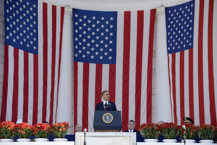 U.S. President Barack Obama speaks after a wreath-laying ceremony on Veteran's Day at the Tomb of the Unknown Soldier in Arlington National Cemetery on November 11, 2012 in Arlington, Virginia. (Michael Reynolds/Getty Images)