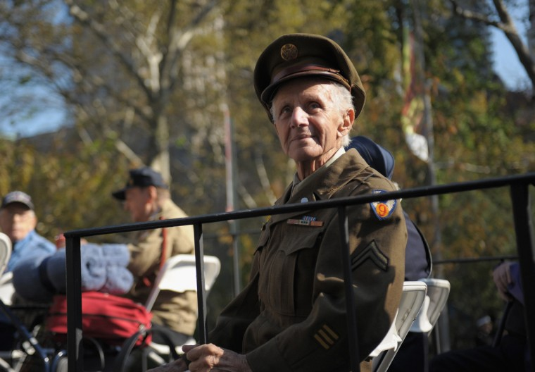 A World War II veteran takes part in the Veteran's Day Parade on November 11, 2012 in New York City. Former Mayor Ed Koch is the grand marshal for the parade, which expects to draw thousands of spectators and is the commemoration of the 50th anniversary of the start of the Vietnam War. (Michael Loccisano/Getty Images)
