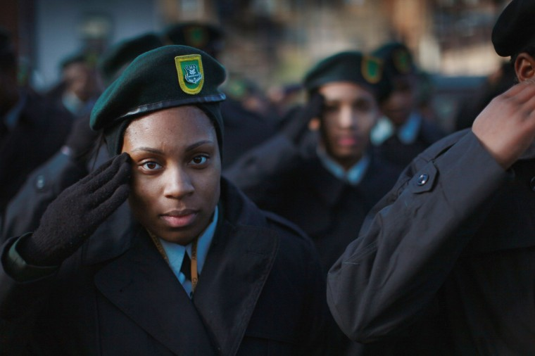 Students from the Chicago Military Academy participate in the Chicago Veterans Day parade on November 12, 2012 in Chicago, Illinois. Veterans Day, held the anniversary of the signing of the armistice which ended the World War I, is celebrated to honor all veterans for their service. (Scott Olson/Getty Images)