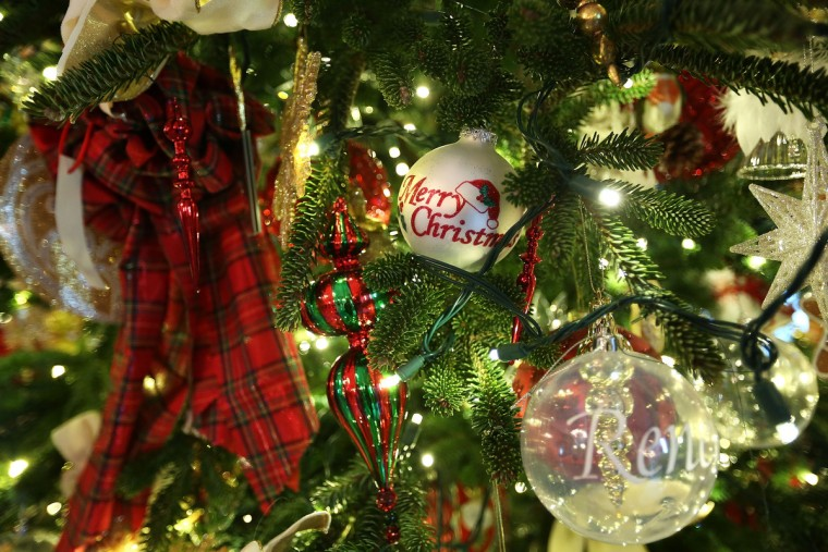 Ornaments on a Christmas tree are seen during a preview of the 2012 White House holiday decorations . (Alex Wong/Getty Images)