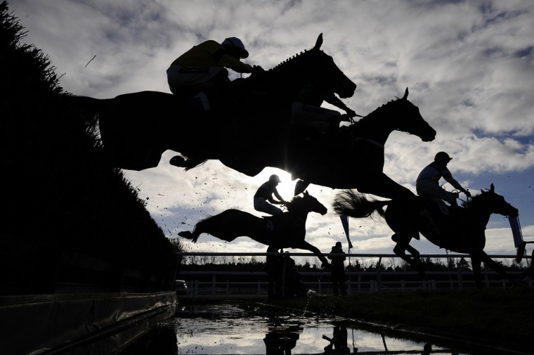 Runners take the water jump in The Burges Salmon Novices' Limited Handicap Steeple Chase at Newbury racecourse in Newbury, England. (Alan Crowhurst/Getty Images)