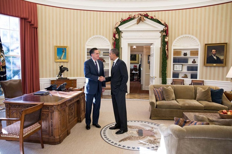 In this handout from the White House, Former Republican presidential candiate and Massachusetts Gov. Mitt Romney shakes hands with U.S. President Barack Obama in the Oval Office following their lunch November 29, 2012 in Washington, D.C. (Pete Souza/White House Photo via Getty Images)