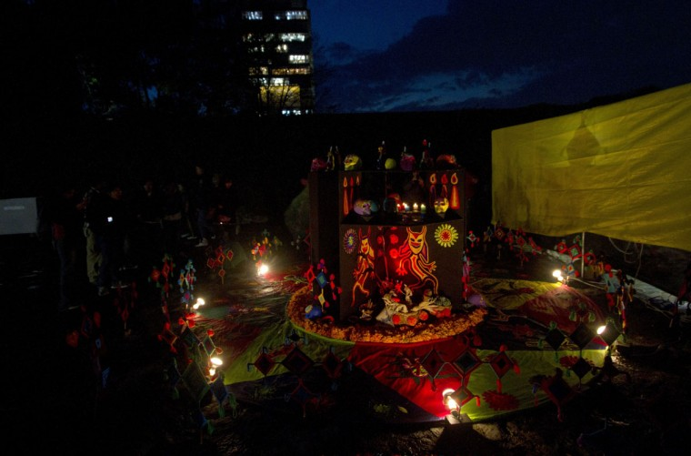 View of an Altar for the Dead to the Huichol tribe, set up at the National Autonomous University of Mexico (UNAM) in Mexico City on October 30, 2012, during preparations on the eve of the Day of the Dead celebrations. (Pedro Pardo/AFP/Getty Images