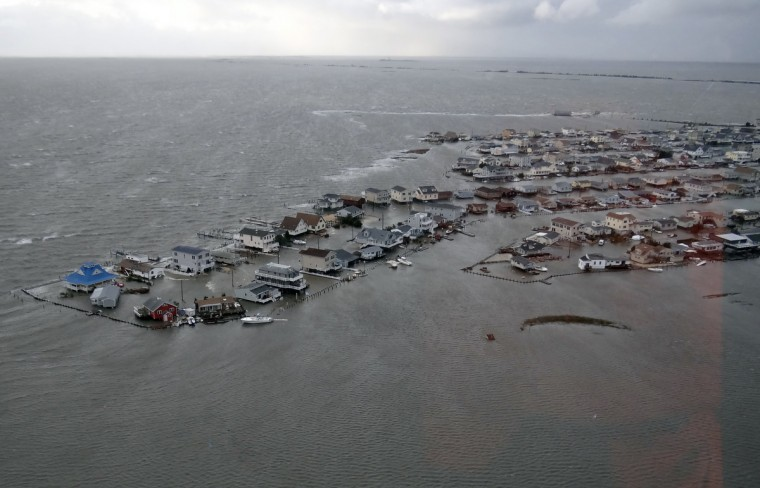 This picture provided by the US Coast guard shows flooded homes in Tuckerton, New Jersey after Hurricane Sandy made landfall on the southern New Jersey coastline on October 29. (US Coast Guard)
