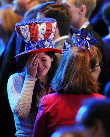 Supporters of US Presidential candidate Mitt Romney gather on election night November 6, 2012 in Boston, Massachusetts. (Don Emmert/Getty Images)