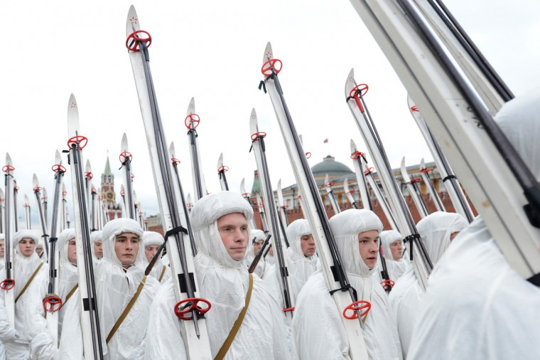 Russian soldiers wearing World War II-era uniform of the Red Army ski troops march during a military parade on the Red Square in Moscow. Russia marked today the 71st anniversary of the 1941 historical parade, when the Red Army soldiers marched to the front line from the Red Square, as Nazi German troops were just a few kilometers from Moscow. (Natalia Kolesnikova/Getty Images)