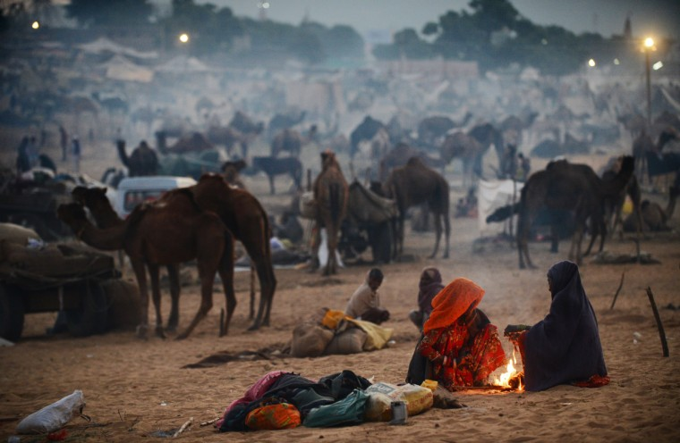 Two women keep warm by a fire at dawn at the camel fair grounds in the outskirts of Pushkar. The annual five-day camel and livestock fair, held in the town of Pushkar in the state of Rajasthan is one of the world's largest camel fairs, and apart from buying and selling of livestock it has become an important tourist attraction. (Roberto Schmidt/Getty Images)