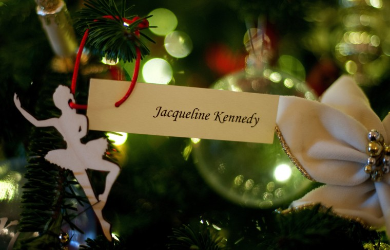 Former First Lady Jacqueline Kennedy's ornament adorns a first lady Christmas tree in the Grand Foyer that holds White House ornaments from Christmases past during the first viewing of the White House 2012 holiday decorations in Washington, DC. (Jim Watson/Getty Images)