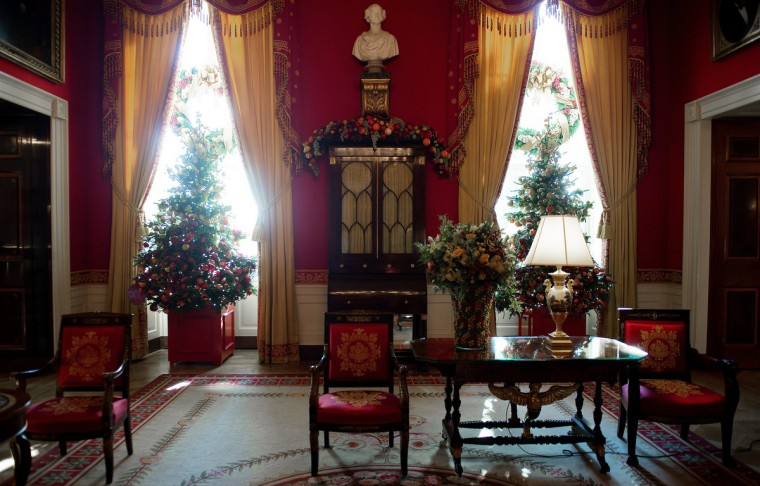 Christmas decorations in the Red room during the first viewing of the White House 2012 holiday decorations in Washington, DC. (Jim Watson/Getty Images)