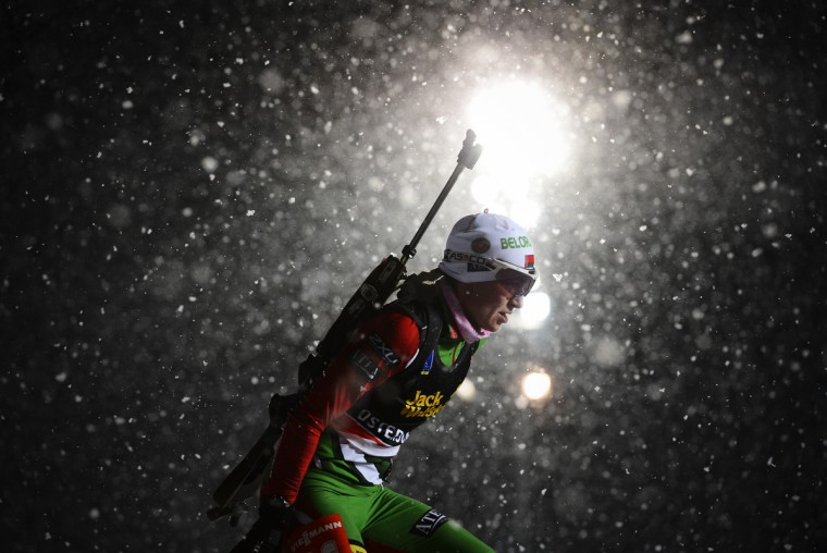 Belarus's Darya Domracheva competes during the women's 15 km individual race of the Biathlon World Cup in Ostersund on November 29, 2012. Norway's Tora Berger won the event ahead of Darya Domracheva of Belarus (2nd) and Russia's Ekaterina Glazyrina (3rd). (Jonathan Nackstrand/Getty Images)