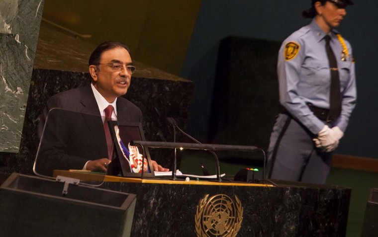"""Reuters — President Asif Ali Zardari called Obama's re-election a clear reaffirmation of his leadership and expressed hope that U.S.-Pakistan ties, which have been strained, would prosper. """"The president said that he looked forward to working closely with President Obama towards the shared objective of peace, security, stability and prosperity in the region,"""" an official statement said. (Michael Nagle/Getty Images)"""