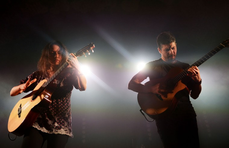 Gabriela Quintero and Rodrigo Sanchez of Rodrigo y Gabriela perform live at the opening of Wahaca Presents Day of the Dead at the Old Vic Tunnels on October 31, 2012 in London, England. The four day cultural festival celebrates Mexican food, art, music and film and was co-produced by NOMAD and The Embassy of Mexico. (Samir Hussein/Getty Images for The Old Vic)