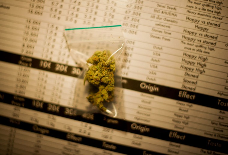 November 1, 2012: Two grams of Silver Haze cannabis, costing 10 Euros per gram, lays on menu in a coffee shop in the center of Amsterdam, Netherlands. (Jasper Juinen/Getty Images)