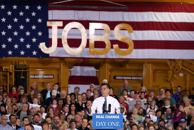 Republican presidential candidate and former Massachusetts governor Mitt Romney speaks during a campaign rally at Screen Machines Industries in Etna, Ohio. With less than one week to go before election day, Mitt Romney is campaigning in Wisconsin and Ohio. (Justin Sullivan/Getty Images)