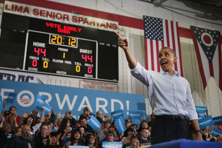 U.S. President Barack Obama addresses a campaign rally at Lima Senior High School in Lima, Ohio. With four days left in the general election, Obama and Republican presidential nominee Mitt Romney, are racing from swing-state to swing-state in an attempt to sway voters at the last minute. (Chip Somodevilla/Getty Images)