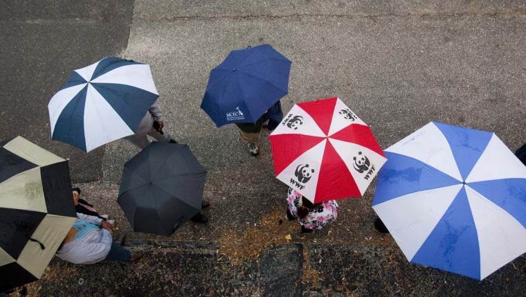ST. PETERSBURG, FL: Voters wait in line and the rain to cast their vote on November 6, 2012 in St. Petersburg, Florida. The swing state of Florida is recognized to be a hotly contested battleground that offers 29 electoral votes, as recent polls predict that the race between U.S. President Barack Obama and Republican presidential candidate Mitt Romney remains tight. (Edward Linsmier/Getty Images)