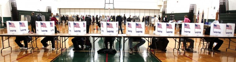 STERLING HEIGHTS, MI: U.S. citizens vote in the presidential election at Carleton Middle School November 6, 2012 in Sterling Heights, Michigan. Recent polls show that U.S. President Barack Obama and Republican presidential candidate Mitt Romney are in a tight race. (Bill Pugliano/Getty Images)