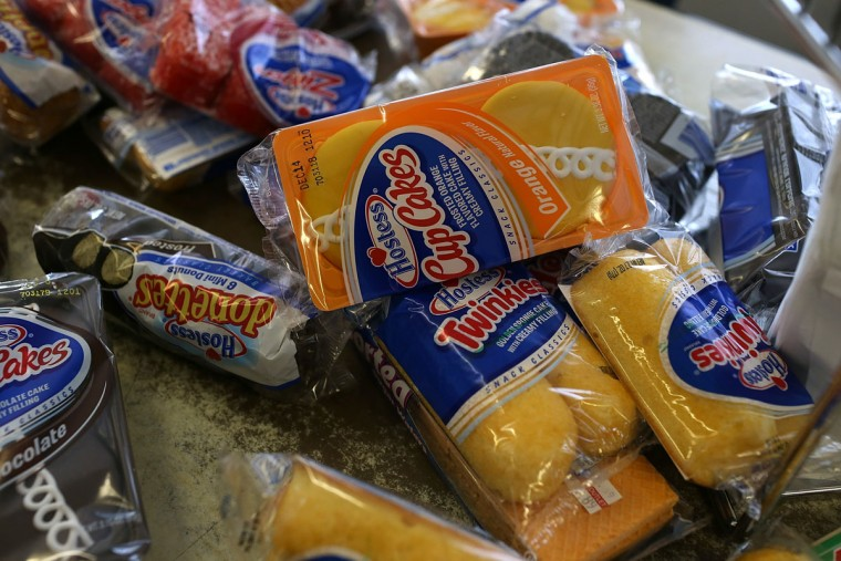 Packages of Hostess products sit on a counter at a Wonder Hostess Bakery Outlet in San Leandro, Calif., on Nov. 16, 2012. Hostess Brands, the maker of Twinkies, Ding Dongs and Wonder Bread, announced plans to liquidate its assets, leading some consumers to stock up on Hostess' products. (Justin Sullivan/Getty Images)