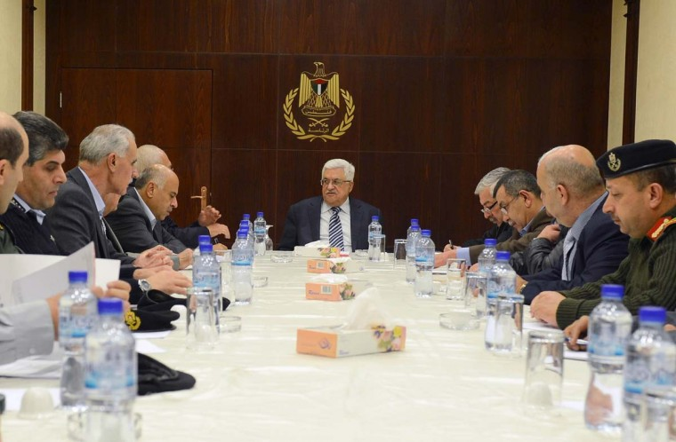 NOVEMBER 17 — In this handout image supplied by the office of the Palestinian president, Palestinian President Mahmoud Abbas conducts a meeting of the leaders of the security services on November 17, 2012 in Ramallah, West Bank. Abbas has reportedly reached out to Arab and Western leaders for aid in the face of the heightening conflict between Israel and Gaza. (Thaer Ghanaim /PPO via Getty Images)