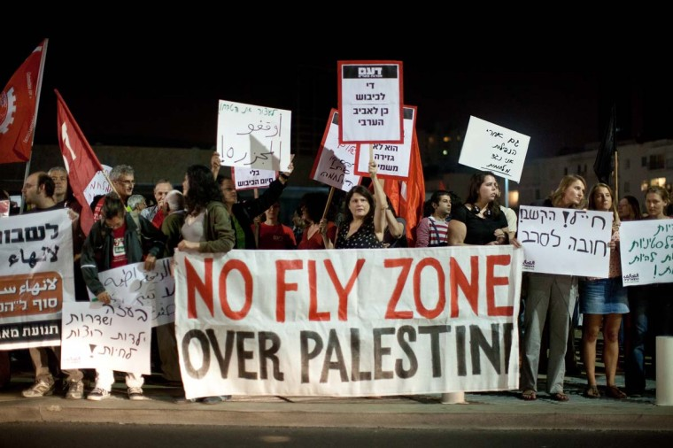 NOVEMBER 17 — Left wing Israeli activists demonstrate against the Israeli airstrike in Gaza on November 17, 2012 in Tel Aviv, Israel. (Uriel Sinai/Getty Images)