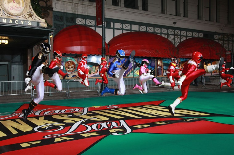 Power Rangers Megaforce perform at Day One of the 86th Anniversary Macy's Thanksgiving Day Parade Rehearsals at Macy's Herald Square on November 19, 2012 in New York City. (Taylor Hill/Getty Images)