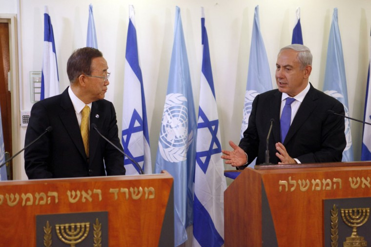 NOVEMBER 20: United Nations Secretary-General Ban Ki-moon attends a press conference with Israeli Prime Minister Benjamin Netanyahu in Jerusalem, Israel. (Lior Mizrahi/Getty Images)