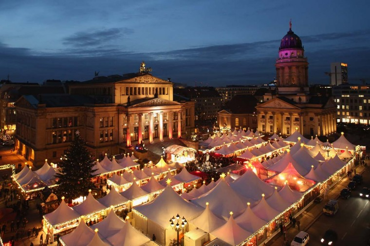 The annual Christmas market at Gendarmenmarkt stands illuminated in the city center on its opening day on November 26, 2012 in Berlin, Germany. (Sean Gallup/Getty Images)