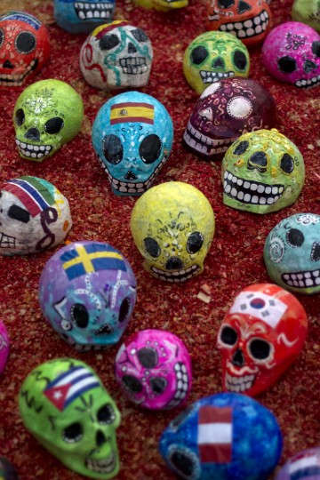 View of skulls on an altar set up at the National Autonomous University of Mexico (UNAM) in Mexico City on October 30, 2012, during preparations on the eve of the Day of the Dead celebrations. (Pedro Pardo/AFP/Getty Images)