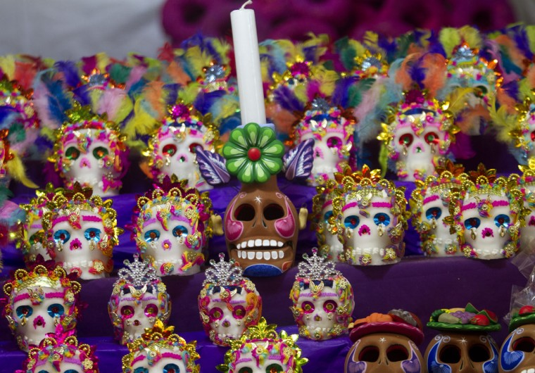 Mexican traditional sugar 'Calaveritas' (Little Skulls) are displayed at the Jamaica market in Mexico City, on October 31, 2012, as Mexicans prepare to celebrate the traditional Day of the Dead. (Pedro Pardo/AFP/Getty Images)