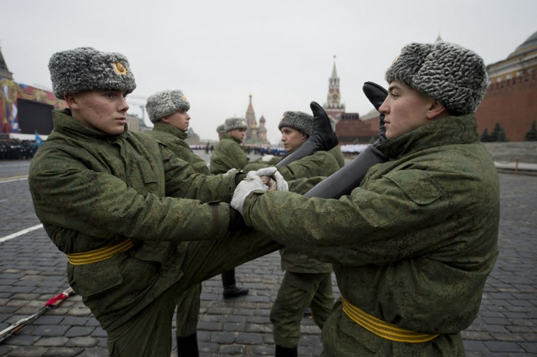 Russian soldiers take part in a rehearsal of a military parade at Red Square in Moscow. The event will take place on November 7, marking the 71th anniversary of a historical parade of 1941, when soldiers left for a front line just after marching here, as Nazi German troops were fighting with Soviet soldiers a few kilometers from Moscow. (Natalia Kolesnikova/AFP/Getty Images)