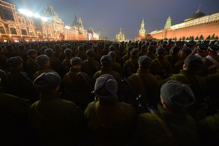 Russian soldiers participate at the rehearsal of a military parade on Red Square in Moscow. (Natalia Kolesnikova/AFP/Getty Images)