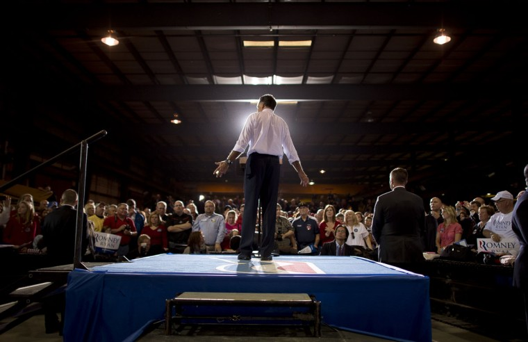 U.S. Republican presidential candidate Mitt Romney holds a rally at Screen Machine Industries in Etna, Ohio. (Emmanuel Dunand/AFP/Getty Images)