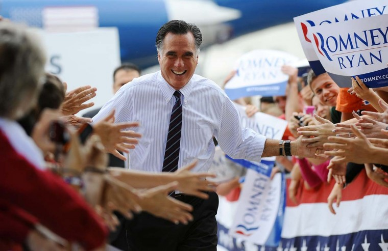 U.S. Republican Presidential candidate Mitt Romney holds a rally at Orlando Sanford international airport in Orlando, Florida, November 5, 2012. (Emmanuel Dunand/AFP/Getty Images)