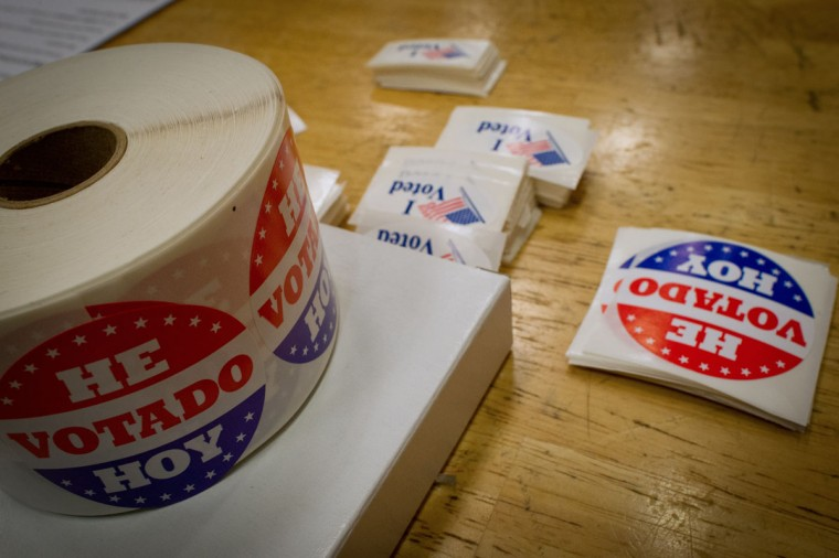 """I Voted"" stickers printed in both English and Spanish are seen at the polling station at Metropolitan AME Church in Washington, D.C. (Mladen Antonov/AFP/Getty Images)"