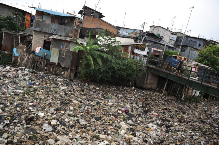 Shanty houses are pictured along the polluted Cipinang river in Jakarta on November. Many rivers in Indonesia, especially in many urban areas, are polluted by household and industrial waste. (Romeo Gacad/AFP/Getty Images)